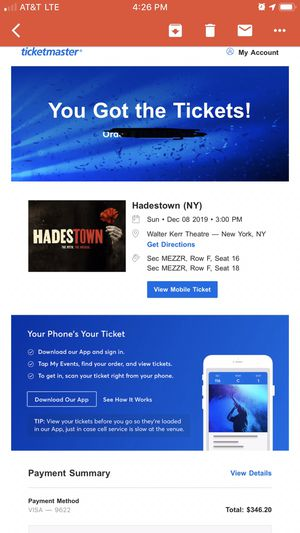 Hadestown Tickets December 8th 2019 for Sale in Woodinville, WA