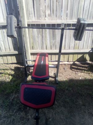AB lounge Weight bench w/Barbell and weights for Sale in St. Louis, MO