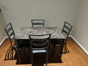 Brand New 5 Piece Faux Marble Dining Set (New in Box) for Sale in Silver Spring, MD