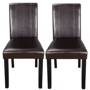 Set of 2 Dining Parson Chair Elegant Design Kitchen Room Brown Leather Backrest for Sale in Lake Elsinore, CA