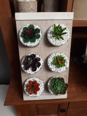 Home decor / artificial succulent plants on wood stand $15 for Sale in Houston, TX