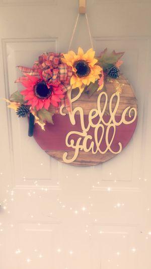 Hello fall round wooden door hanger/wreath for Sale in Fairburn, GA