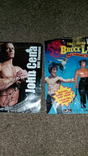 Bruce Lee Action figure plus john cena autograph for Sale in Galloway, OH