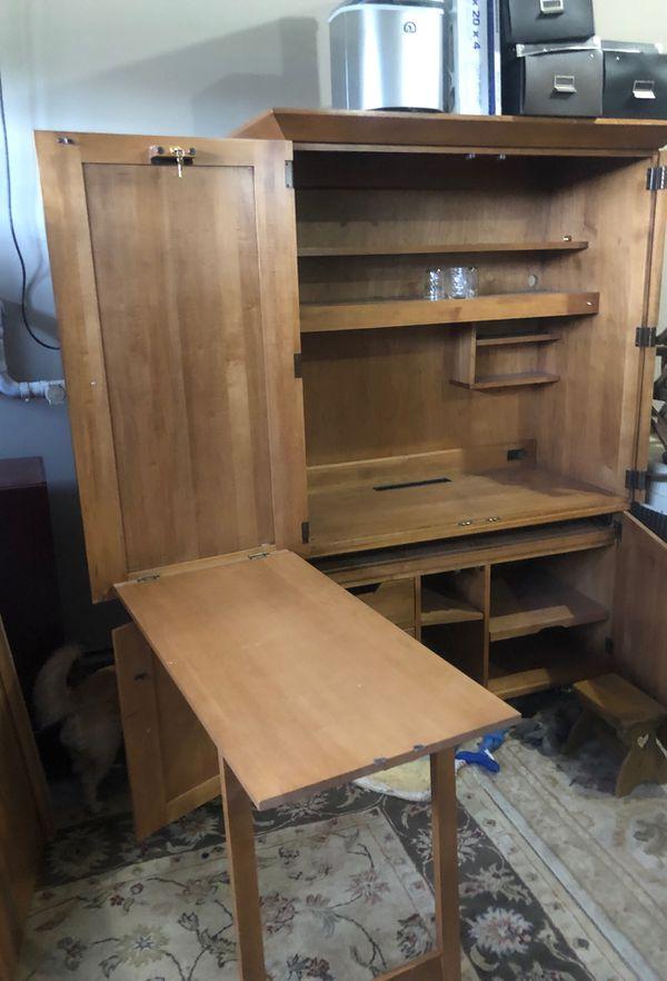 Ethan Allen hardwood storage cabinet/desk