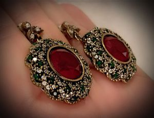 PIGEON BLOOD RUBY EMERALD FINE ART EARRINGS Solid 925 Sterling Silver/Gold WOW! Brilliantly Faceted Round Cut Gems, Diamond Topaz M5939 V for Sale in San Diego, CA