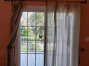Four sheer sage/beige curtains - 56x84 for Sale in Midlothian, VA