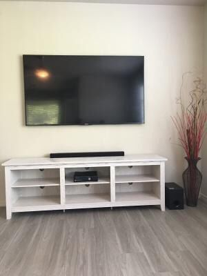 "TV Stand with Media Storage shelf for TVs up to 78"" - White Wash Description: NEW IN BOX !! Adjustable Shelves, Cable Management Brand Manor Park M for Sale in Houston, TX"
