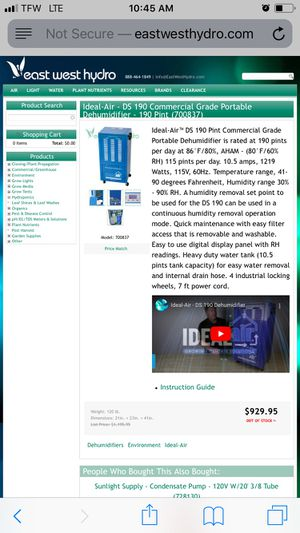 Dehumidifier 190 pint for Sale in Los Angeles, CA