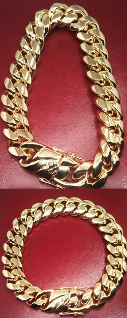 "18K Gold Bonded Stainless Steel 14mm Cuban Link Chain Bracelet 8""or 9"" New in Gift Box for Sale in Boca Raton,  FL"