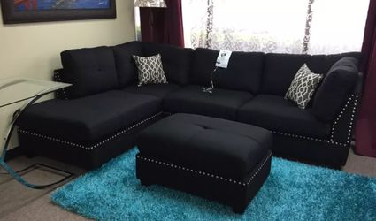 Brand New Black Linen Sectional Sofa Couch + Ottoman for Sale in Wheaton,  MD