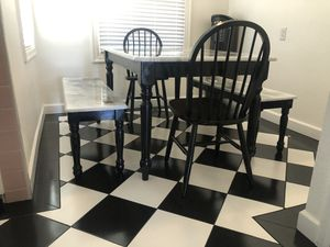 Marble Coat Epoxy Kitchen Dining Farm Table w/ Benches and Chairs for Sale in Berkeley, CA
