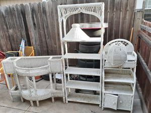 Vintage wood wicker furniture set for Sale in Stockton, CA