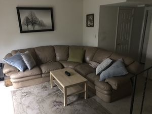 TAN LEATHER COUCH (fishtown) for Sale in Philadelphia, PA