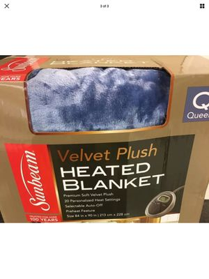Sunbeam Queen velvet plush electric blanket for Sale in Tacoma, WA