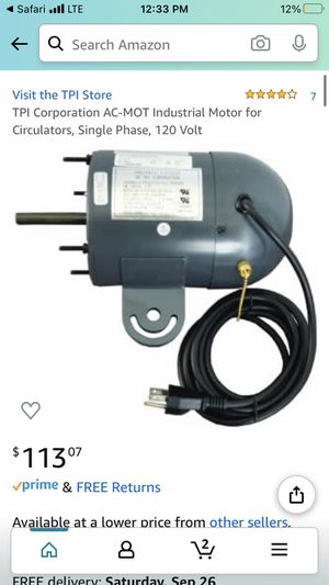 TPI 120 volt industrial motor for Sale in San Diego, CA