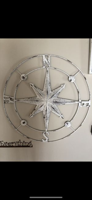 Large distressed white metal compass for Sale in Los Angeles, CA
