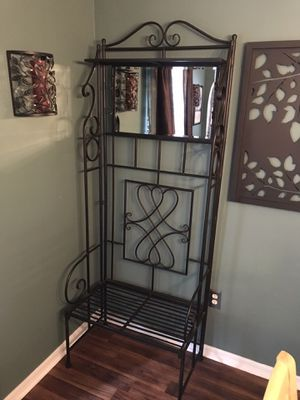 Wrought iron bench with mirror, shelf & hooks for Sale in Clermont, FL