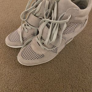 Light Grey Lace Up Sneakers With A Heel for Sale in West Hartford, CT