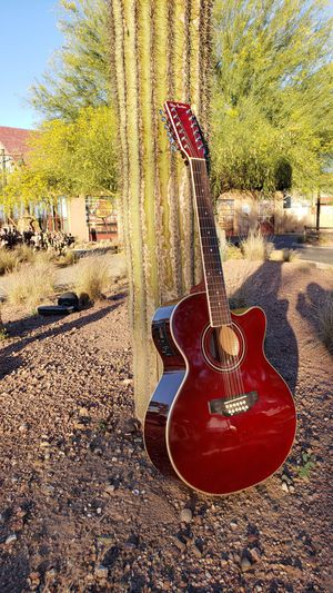 12 String Acoustic Electric Requinto Guitar with Tuner & Accssories Combo Guitarra 12 Cuerdas Burgundy for Sale in Mesa, AZ