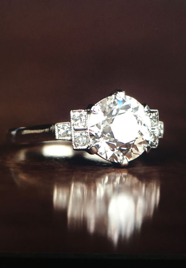 The Canberra Old European 2.01 Carat Art Deco Handcrafted Platinum Band Diamond Engagement Ring