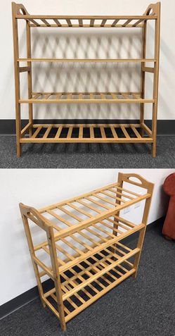 NEW $20 each 27x11x30 inches tall 4 tier bamboo shoe storage rack organizer stand for Sale in Los Angeles,  CA