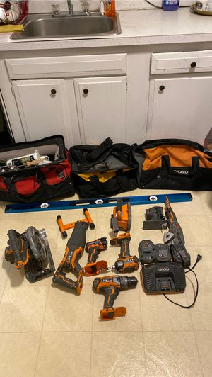 tools and bags Ridgid drills , sawzall ,skill saw for Sale in Ashland, MA