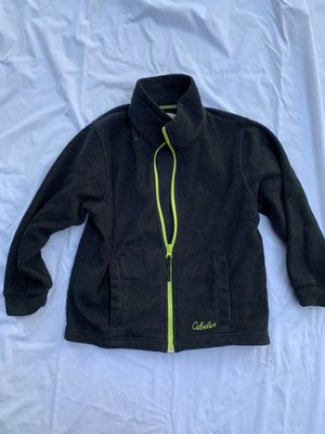 Cabela s black fleece youth size xs 6/7 lime green piping , emblems and zipper for Sale in Painesville, OH