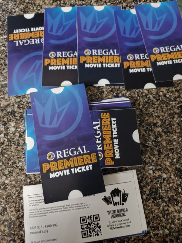 Regal Cinemas tickets for sale. $8 ea. No expiration date use at any regal cinemas