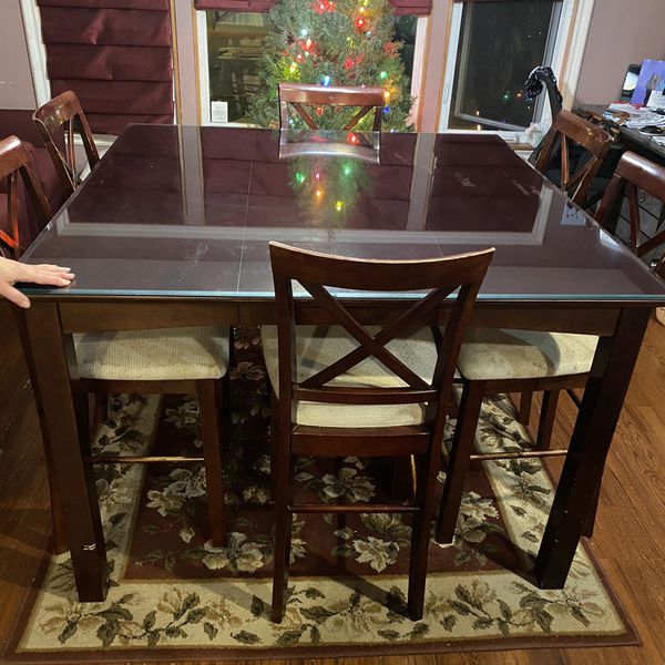 """Beautiful 54"""" Square High Top Dark Wood Dining Room Table"""