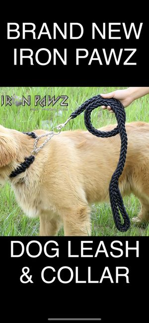 Iron Pawz Heavy Duty Professional Training Dog Leash and Collar Set Solid Black for Sale in Avondale, AZ