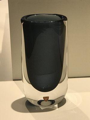 Nils Landberg Orrefors (Sweden) Midnight Blue Glass Vase Antique From 1980s for Sale in Newton, MA