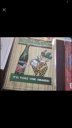 Nice Mountain Dew sign for man cave $25 new in plastic for Sale in Burlington, NC