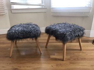 2 grey fur mini stools w/ wooden legs for Sale in San Francisco, CA