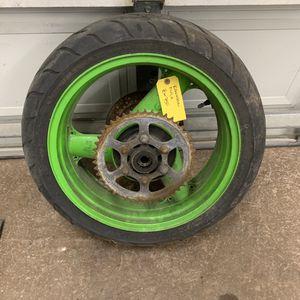 Kawasaki ninja zx750 rims/tires brake rotors and sprocket for Sale in Arlington Heights, IL