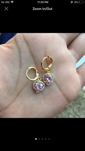 18k gold plated cz earrings dangles for Sale in Silver Spring, MD