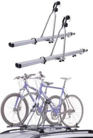 New in box SET OF 2 upright cross bar mount bike bicycle carrier aluminum rack with lock 33 lb load barring capacity for Sale in Covina, CA