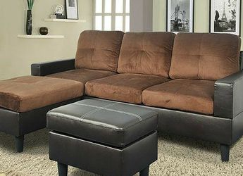 Brand New Brown Microfiber Sectional With A Reversible Chaise & Matching Footrest for Sale in Graham,  WA