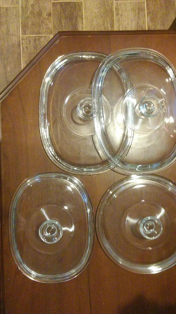4 glass Pyrex lids