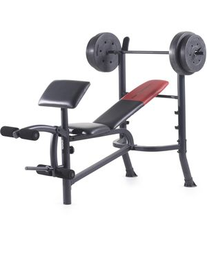 Weider standard adjustable weight bench with 80lb weight bar set for Sale in Renton, WA