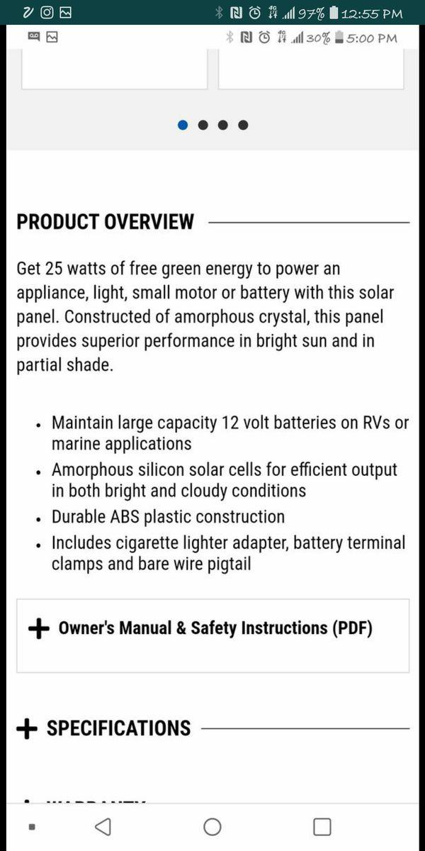 25 Watt 12 Volt Solar Panel new in box