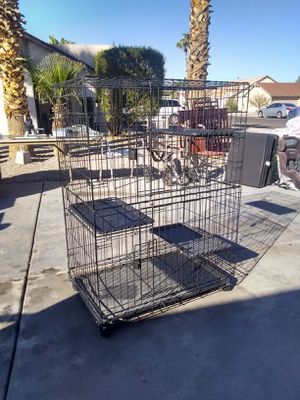 Nice pet cage on rollers 3 ft x 4ft tall 3 level pet cage on rollers see pics Nice cage 2 doors 3 removable trays for Sale in Glendale, AZ