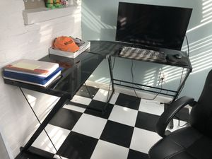 Glass-top computer desk - hardly used for Sale in Washington, DC