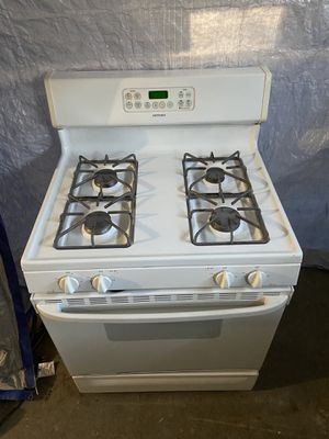 Like New Hotpoint White Gas Stove and Overhead Microwave for Sale in Pelham, NH