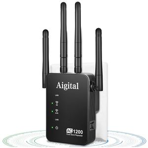 Aigital WiFi Repeater Extender 1200mbps WiFi Range Extender Dual Band 2.4G&5G Wireless Extender with 2 Ethernet Ports, Router & Reapter & AP Mode-Cove for Sale in Brooklyn, NY