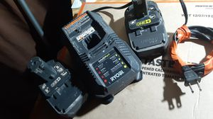 45$ ryobi battery charger + 2 battery for Sale in Los Angeles, CA
