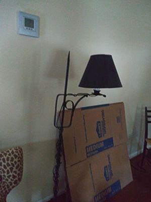 Black wrought iron floor lamp w/black shade for Sale in Richmond, VA