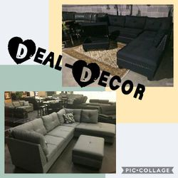 Fabric Nail Head Trim Sectional with Storage Ottoman for Sale in Atlanta,  GA