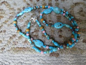 """34"""" turquoise and silver necklace like brand new for Sale in Pismo Beach, CA"""