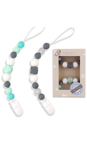 Pacifier Clips Silicone Teething Beads BPA Free Binky Holder for Girls, Boys, Baby Shower Gift, Teether Toys, Soothie, Mam, Drool Bibs, Set o for Sale in Queens, NY