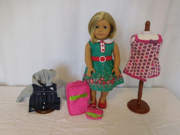 American Girl Doll Kit Kittredge not original shoes + AG Lots of Dots Bath Wrap + AG Denim Jacket